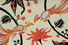 Limited Edition Print Signed Reduction Linocut Birds Jungle Flowers I