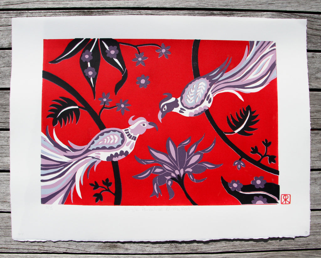 Limited Edition Print Signed Reduction Linocut Birds Jungle Flowers Red