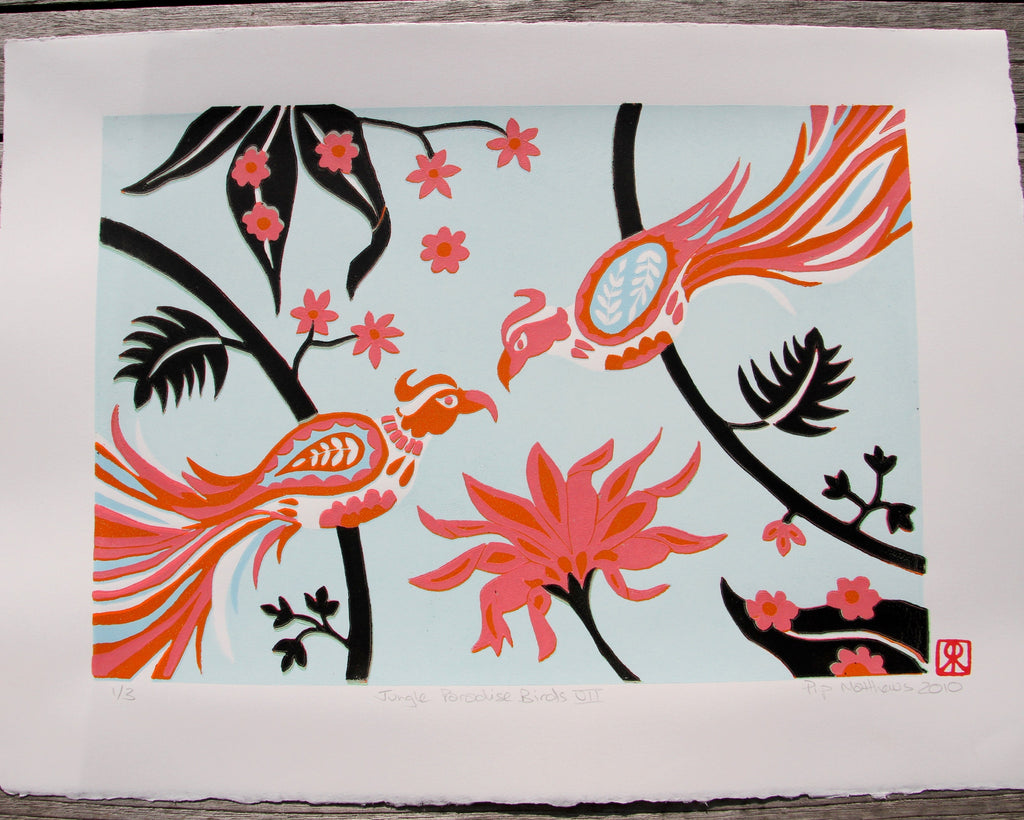 Limited Edition Print Signed Reduction Linocut Birds Jungle Flowers VII