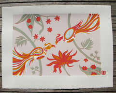 Limited Edition Print Signed Reduction Linocut Birds Jungle Flowers XIV Pip Matthews
