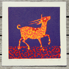 Limited Edition Print Signed Reduction Linocut Antelope I
