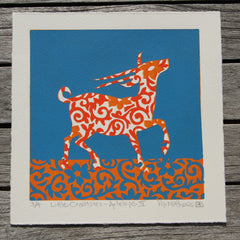 Limited Edition Print Signed Reduction Linocut Antelope IV