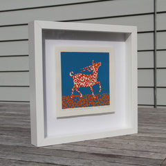 Limited Edition Print Signed Reduction Linocut Antelope IV framed