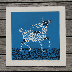 Limited Edition Print Signed Reduction Linocut Antelope VII