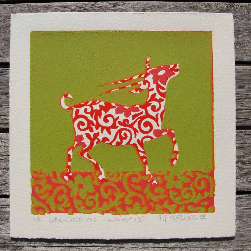 Limited Edition Print Signed Reduction Linocut Antelope VI