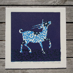 Limited Edition Print Signed Reduction Linocut Antelope XI