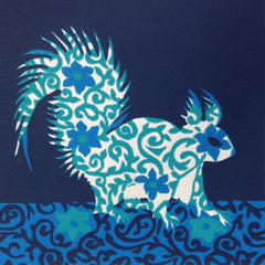 Limited Edition Print Signed Reduction Linocut Squirrel II