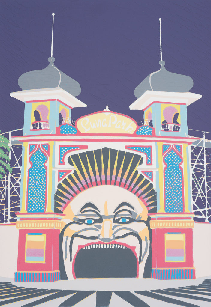 Mr Moon - Luna Park Melbourne III (A3 fine art print)