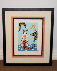 Limited Edition Print Signed Reduction Linocut Siamese Cat framed