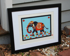 Limited Edition Print Signed Reduction Linocut Elephant III framed