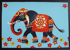Limited Edition Print Signed Reduction Linocut Elephant III