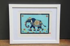 Limited Edition Print Signed Reduction Linocut Elephant II framed