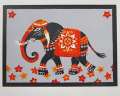 Limited Edition Print Signed Reduction Linocut Elephant I