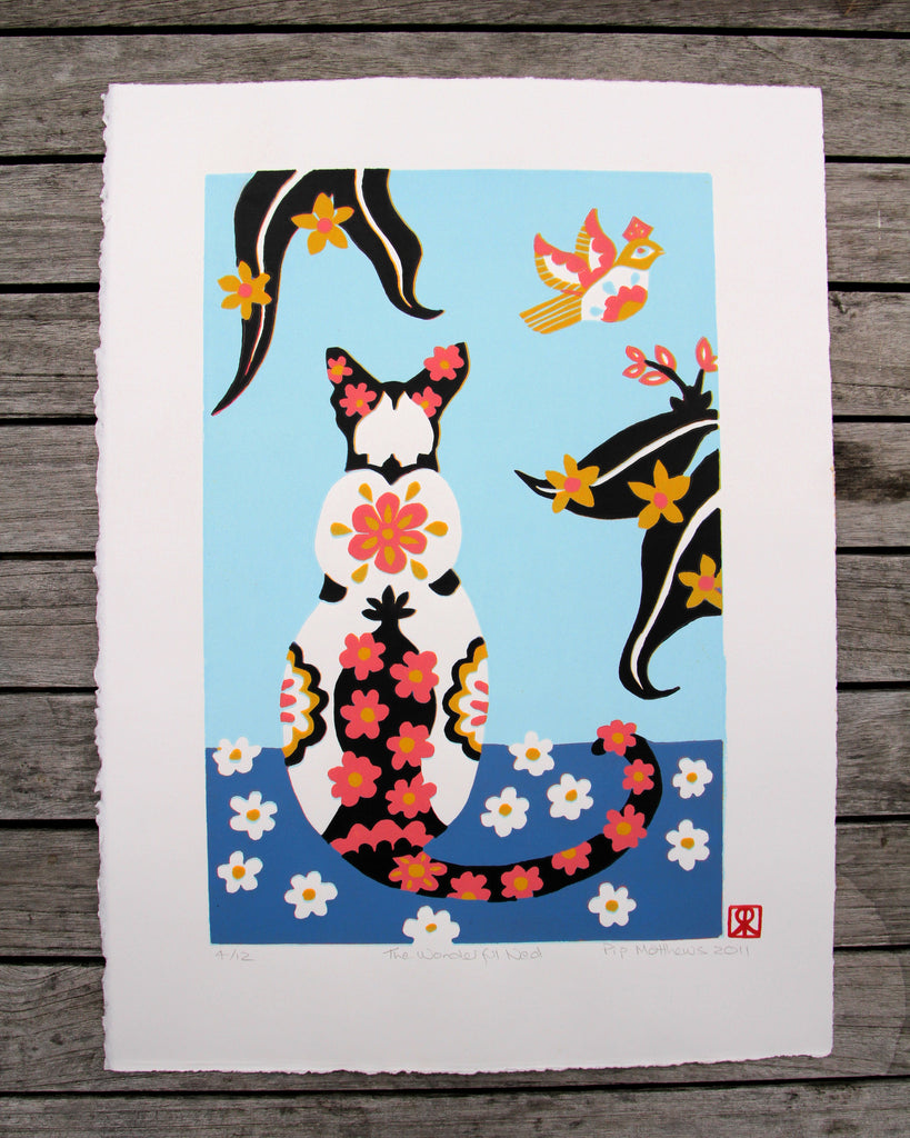 Limited Edition Print Signed Reduction Linocut Siamese Cat