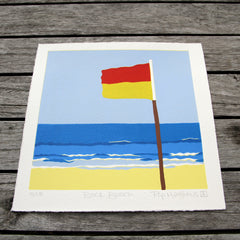 Limited Edition Print Signed Reduction Linocut Back Beach