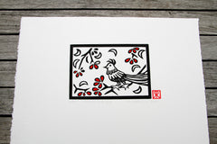 Limited Edition Hand Coloured Signed Print Linocut Bird