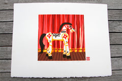 Limited Edition Print Signed Reduction Linocut Horse
