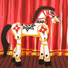 Limited Edition Print Signed Reduction Linocut Show Pony closeup