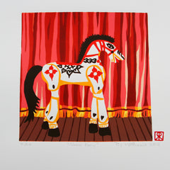 Limited Edition Print Signed Reduction Linocut Horse Show Pony