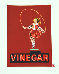 Limited Edition Print Signed Reduction Linocut Skipping Girl Red