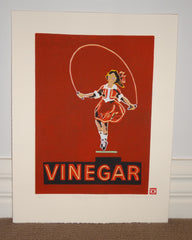 Limited Edition Print Signed Reduction Linocut Skipping Girl Red framed
