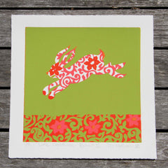 Limited Edition Print Signed Reduction Linocut Rabbit II