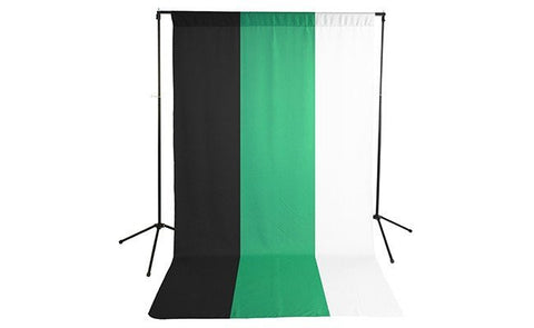 Premium Black, White & Green Polyester Economy Background Kit
