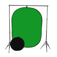 Green/ Blue Reversible Background with portable backdrop stand