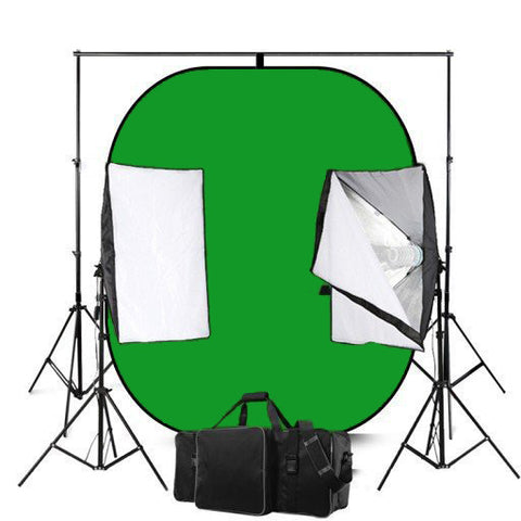 Blue And Green Screen Reversible Photography Backdrops With 50 x 70 Economy Softbox Studio Lighting Equipment
