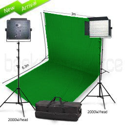 2 Head 2000W Bicolour LED Video Lighting Equipment Kit with Chromakey Backdrop & Support System