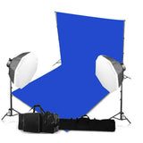 2 Head Powerful 5 Lamp Octagonal Softbox Light Equipment with Chromokey Backdrop & Support System Kit