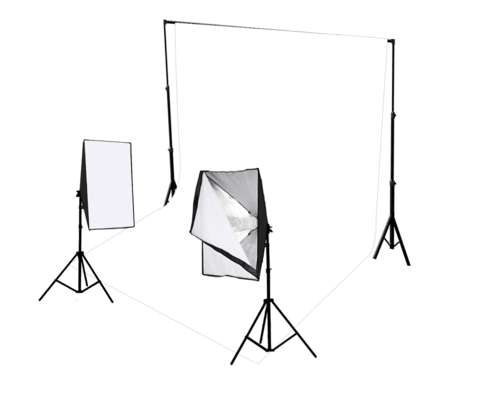 2 Head Continuous Softbox Studio Lighting with Studio Backdrop Equipment Kit