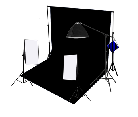 3 Head 750W Continuous Studio Softbox Equipment Kit With Studio Backdrop & Boom Arm