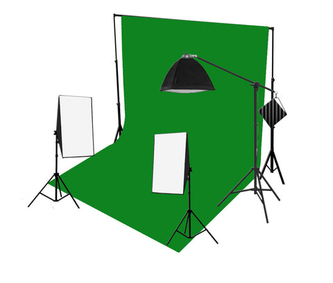 3 Head 750W Continuous Softbox Studio Lighting With Studio Backdrop & Boom Arm Equipment Kit