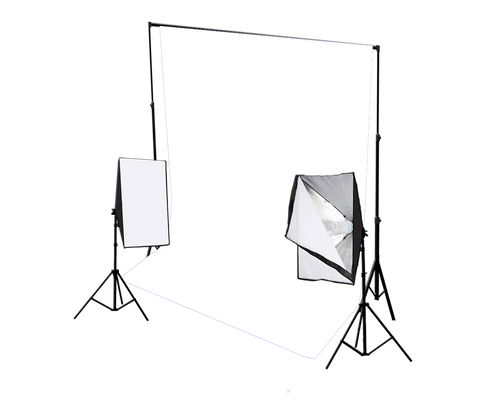 white backdrop with softbox lights