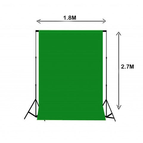 1.8m W x 2.7m H Chroma Key Green Photography Muslin Backdrop with Backdrop Stand