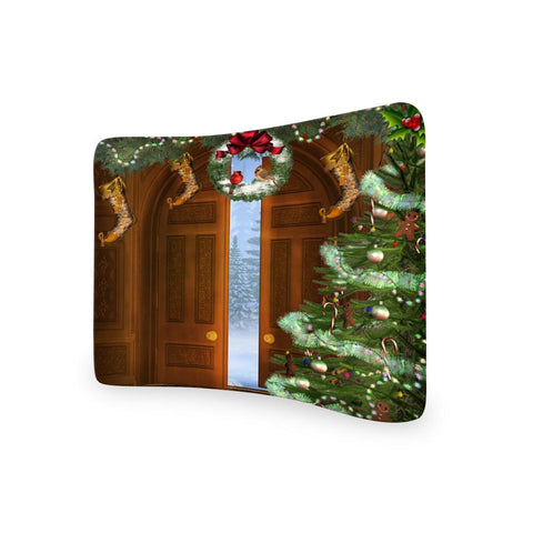 Door Step Christmas  CURVED TENSION FABRIC MEDIA WALL