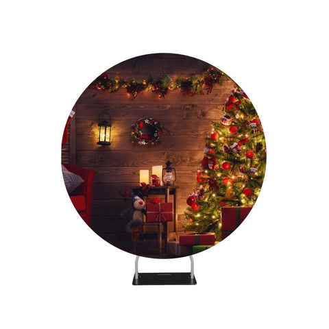 Beautiful Living Room Decorated for Christmas Circle Backdrop Stand