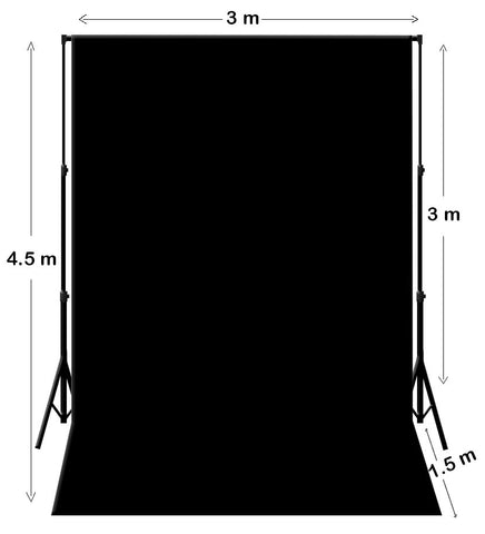 3M X 4.5M Black Photography Backdrop With Support System Stand