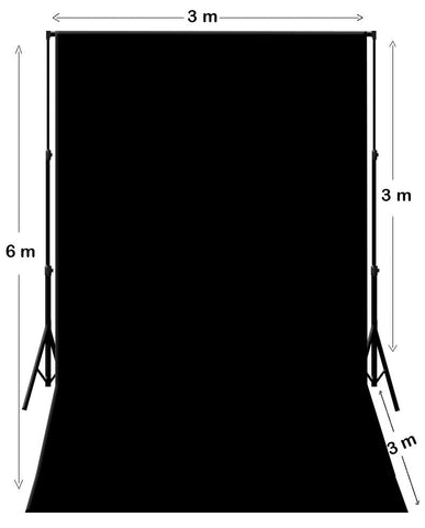 3M X 6M Black Photography Backdrop With Support System Stand
