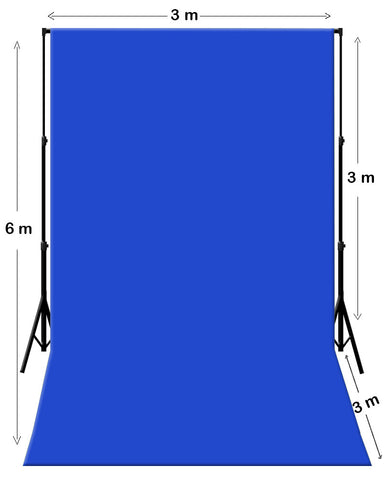 3m W x 6m H Blue Photography Muslin Backdrop with Backdrop Stand