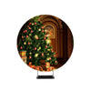 Bright Gold Balls On Christmas Tree Of Fir Or Spruce With String Rice Lights Bulbs Backdrop Circle backdrop stand