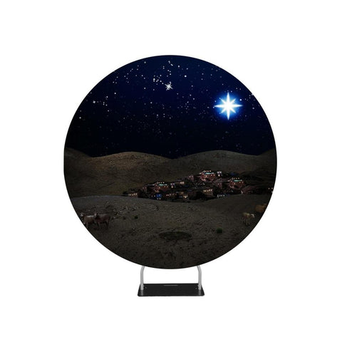 Christmas Bethlehem Night Scene Backdrop Circle backdrop stand