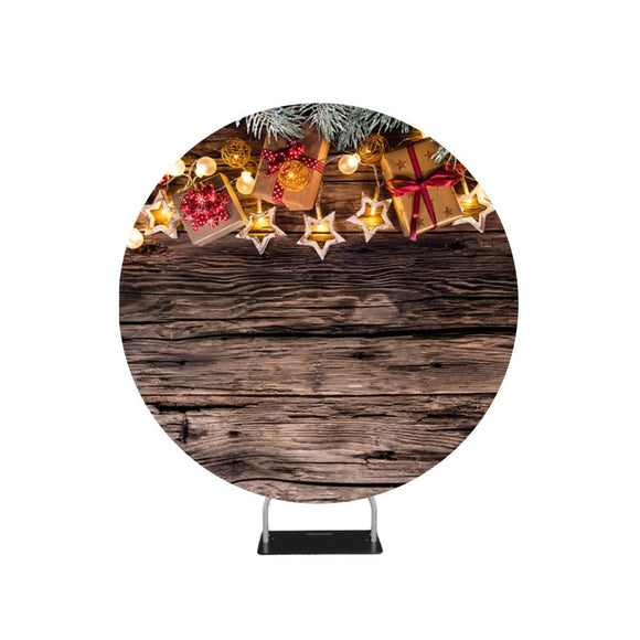 Christmas Wooden Background with Decorations and Gift Boxes Circle backdrop stand