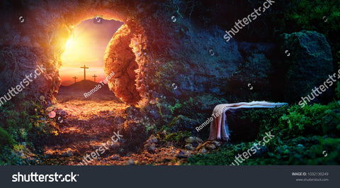 Crucifixion Sunrise on Empty Tomp Background