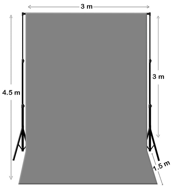3M X 4.5M Grey Photography Backdrop With Support System Stand