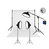 3 Head Powerful 5 Lamp Video Lighting Kit  With Boom arm