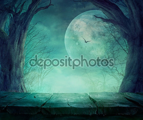 Dark Moon Spooky Tree Halloween Indelible Print Fabric Backdrop