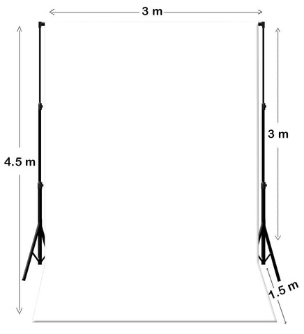 3M X 4.5M White Photography Backdrop With Support System Stand