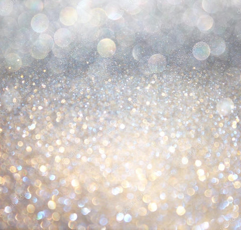 White and Silver Abstract Bokeh Lights Print Photography Backdrop